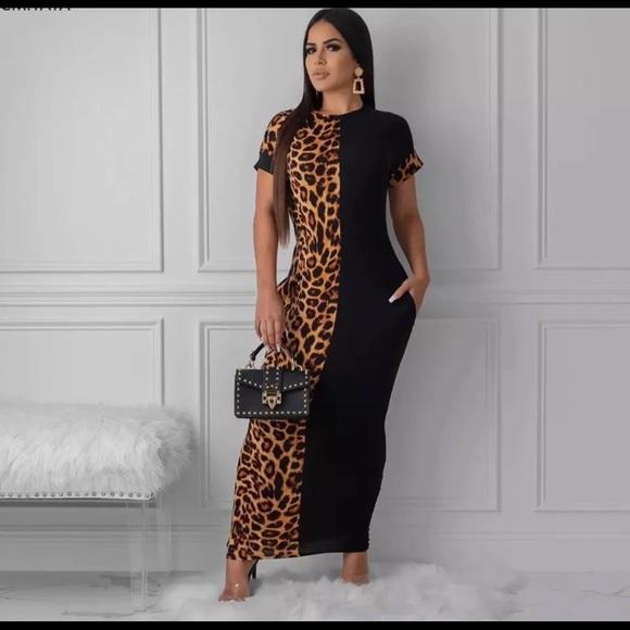 Long leopard bodycon plus-size dress NWT